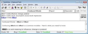 Confused Words: Affect or Effect by Software for Writers