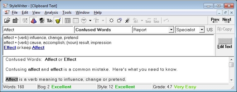 Confused Words Affect or Effect by Software for Writers